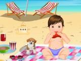 Bébé Ted à la plage