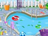 Nettoyer au bord de la piscine