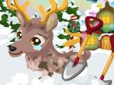 Soin d'un renne du père Noël