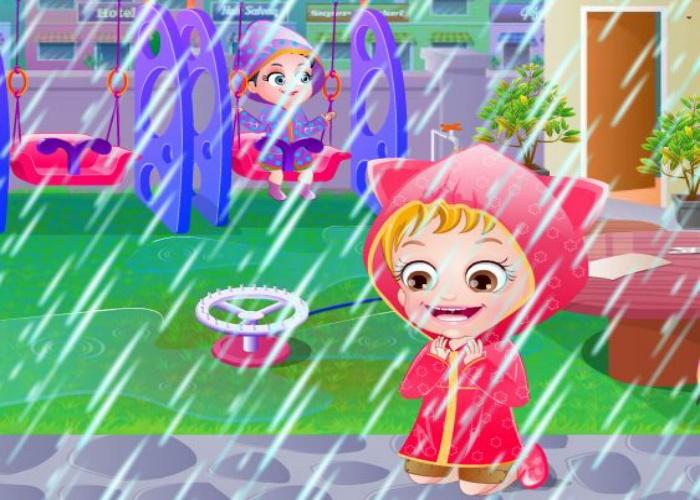 Hazel joue sous la pluie