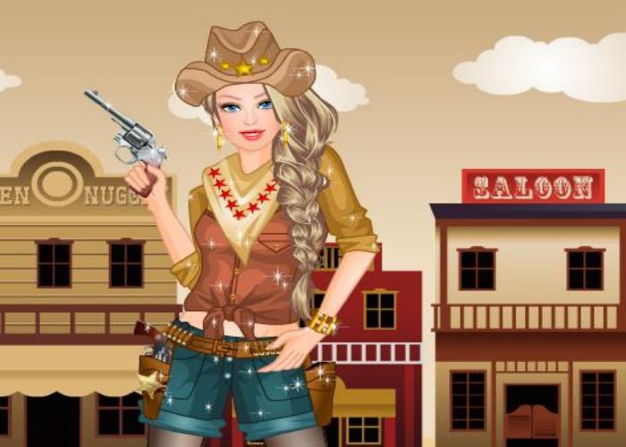 Cow girl en plein western
