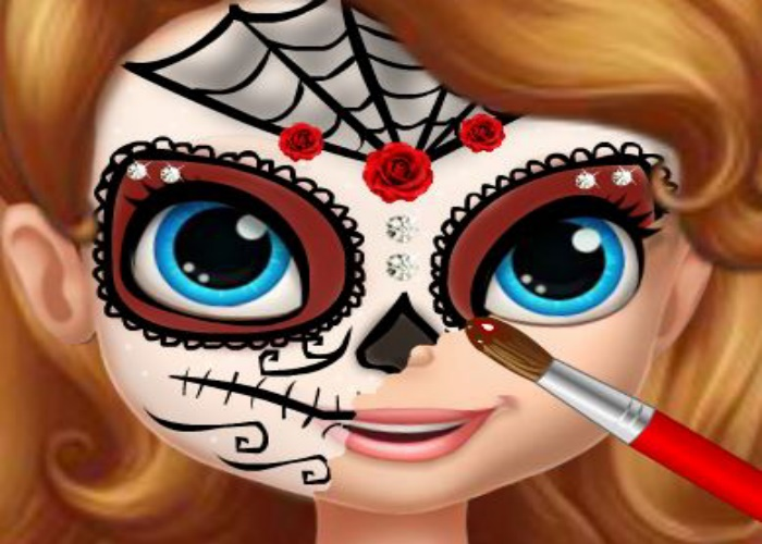 Sofia se maquille pour Halloween