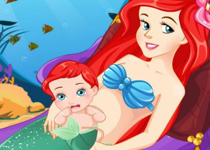 Arielle donne naissance à son bébé