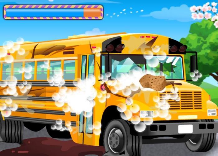Bus scolaire à laver