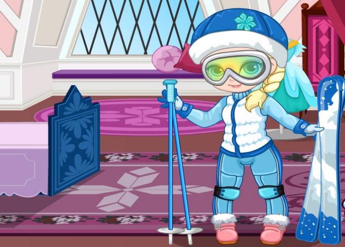 Elsa part skier !