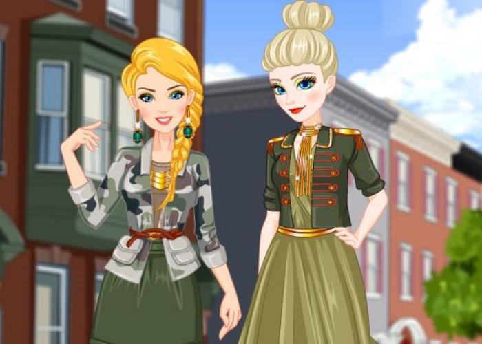 Look armée pour Elsa et Barbie