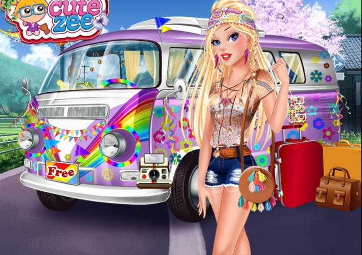 Princesses hippie en van